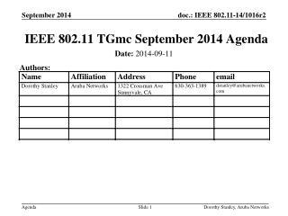 IEEE 802.11  TGmc  September 2014 Agenda