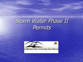 Storm Water Phase II Permits