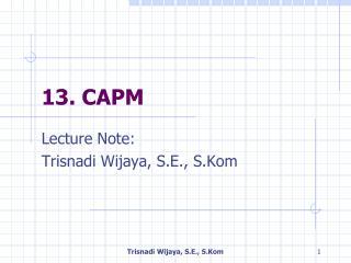 13.  CAPM