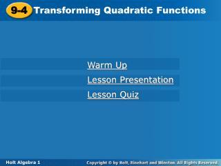 Transforming Quadratic Functions