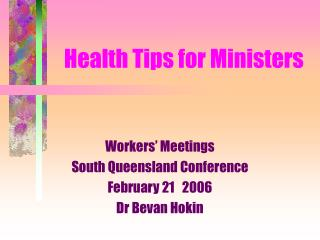 Health Tips for Ministers