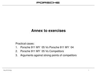 Annex to exercises