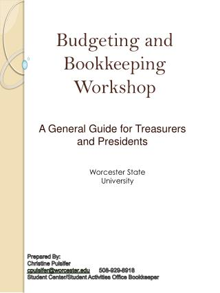 A General Guide for Treasurers and Presidents