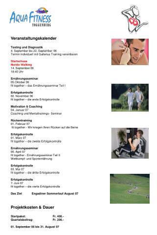 Veranstaltungskalender Testing und Diagnostik 4. September bis 22. September 06
