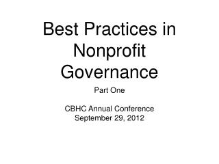 Best Practices in Nonprofit Governance
