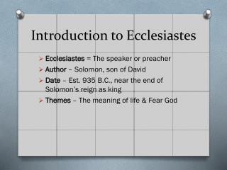 Introduction to Ecclesiastes