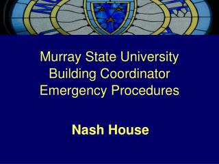 Murray State University Building Coordinator Emergency Procedures