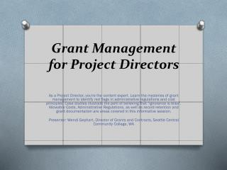 Grant Management for Project Directors