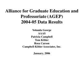 Alliance for Graduate Education and Professoriate (AGEP)  2004-05 Data Results   Yolanda George