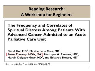 Reading Research:  A Workshop for Beginners
