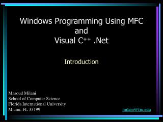Windows Programming Using MFC and Visual C .Net