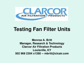 Testing Fan Filter Units