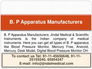 B. P Apparatus Manufacturers - Sphygmomanometer Manufacturer