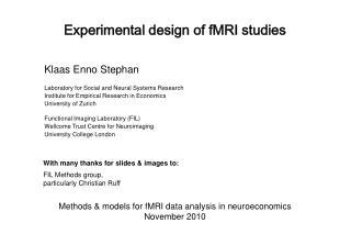 Experimental design of fMRI studies