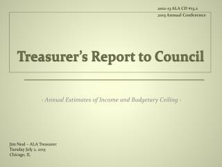 Treasurer's Report to Council