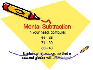 Mental Subtraction