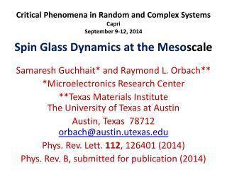 Critical Phenomena in Random and Complex Systems Capri September 9-12, 2014