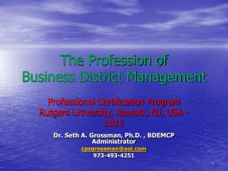 The Profession of Business District Management