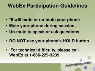 WebEx Participation Guidelines