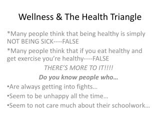 Wellness & The Health Triangle