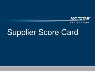 Supplier Score Card