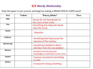 9/3 Wordy Wednesday