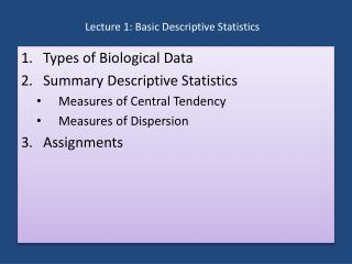 Lecture 1: Basic Descriptive Statistics