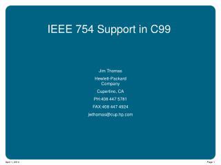 IEEE 754 Support in C99