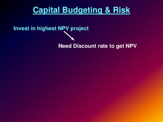 Capital Budgeting & Risk