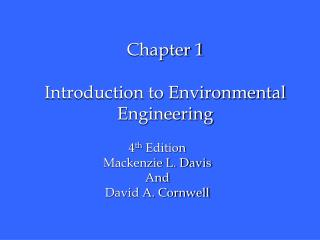 Chapter 1 Introduction to Environmental Engineering