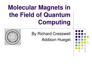 Molecular Magnets in the Field of Quantum Computing
