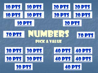 numbers Pick a Value