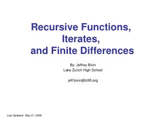 Recursive Functions, Iterates,  and Finite Differences