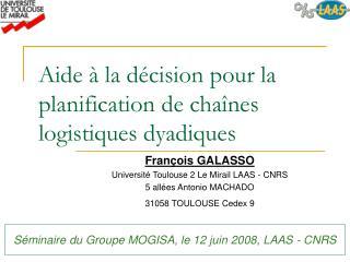 Aide à la décision pour la planification de chaînes logistiques dyadiques