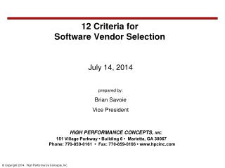 12 Criteria for  Software  Vendor Selection