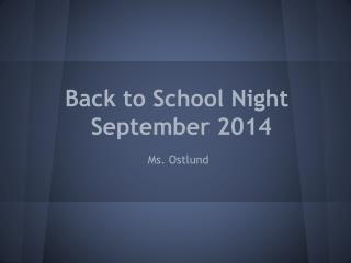 Back to School Night September  2014