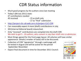CDR Status information