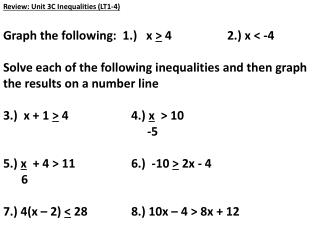 Review :  Unit 3C Inequalities  (LT1-4 ) Graph the following:  1.)   x  >  4		2.) x < -4