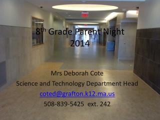 8 th  Grade Parent Night 2014