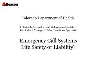 Colorado Department of Health Rob Garcia, Inspections and Maintenance Specialist