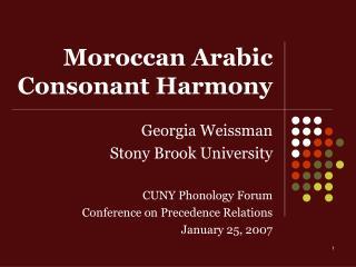 Moroccan Arabic Consonant Harmony