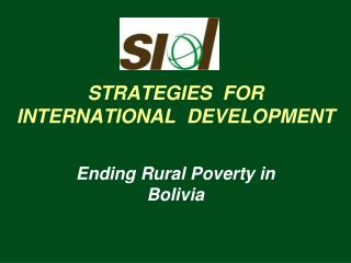 STRATEGIES  FOR INTERNATIONAL  DEVELOPMENT