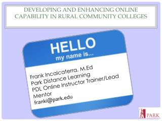 Developing and Enhancing Online Capability in Rural Community Colleges