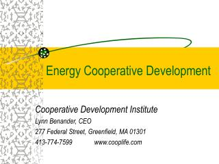 Energy Cooperative Development
