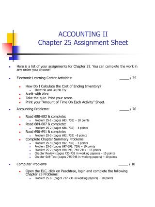 ACCOUNTING II Chapter 25 Assignment Sheet