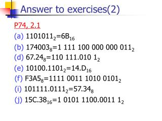 Answer to exercises(2)