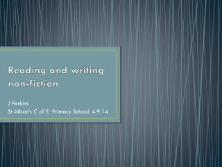 Reading and writing non-fiction