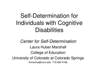 Self-Determination for Individuals with Cognitive Disabilities