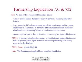 Partnership Liquidation 731 & 732