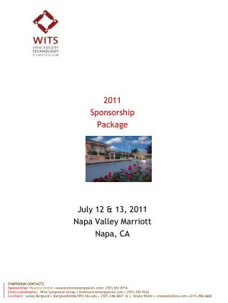 2011 Sponsorship Package July 12 & 13, 2011 Napa Valley Marriott Napa, CA